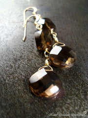 The Elegant Faceted Smokey Quartz Dangle Earrings (Silver or Gold)