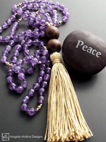 The Purple Amethyst And Wood MALA Necklace With Gold Silk Tassel