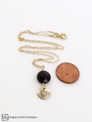 "The Simple And Delicate Gold And Black Onyx ""HEART"" Affirmation Necklace"