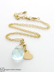 Mini Goddess (children) Blue Quartz Necklace With Tiny Heart Charm