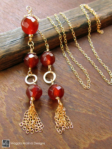 The Delicate Gold Tassel And Carnelian Lariat Necklace