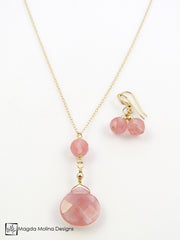 The Delicate Cherry Quartz Chain Necklace on Silver or Gold