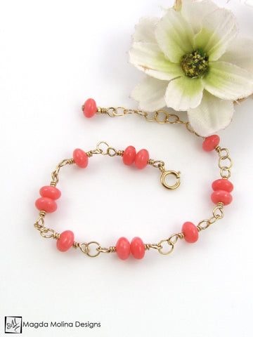 Mini Goddess (children) Pink Coral Bracelet