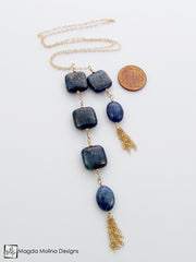 The Delicate Gold, Lapis Lazuli And Tassel Chain Lariat