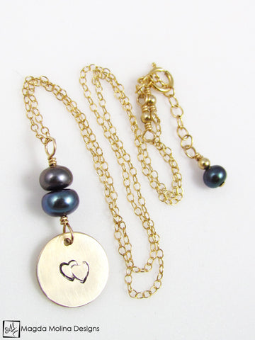 Mini Goddess (children) Double Hearts Necklace With Freshwater Pearls
