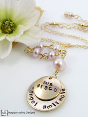 Mini Goddess (children) Personalized Hashtag Freshwater Pearl Necklace