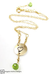 Mini Goddess (children) Heart And Peridot Necklace