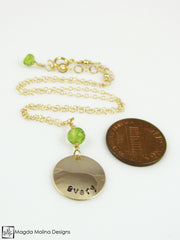 Personalized Mini Goddess (children) Peridot Necklace