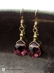 The Gold or Silver And Purple Quartz Mini Drop Earrings