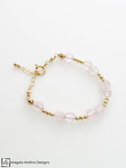 Mini Goddess (children) Rose Quartz Bracelet With Silver or Gold Accent