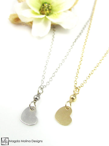 Mini Goddess (children) Tiny Gold or Silver Heart Necklace