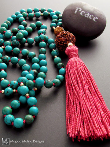 The Turquoise and Rudraksha MALA Necklace With Red Silk Tassel