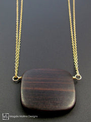 The Long & Delicate Chain Necklace With Wooden Pendant on Silver or Gold