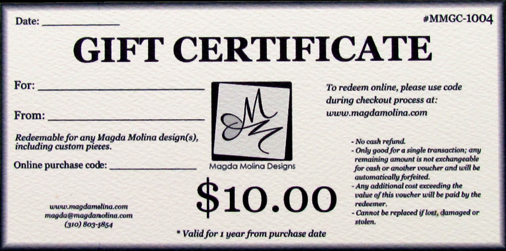 Gift Certificate (mailed version)