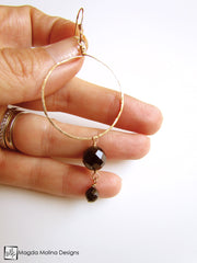 The Faceted Black Onyx & Hand Hammered Gold Hoop Earrings