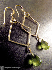 The Hammered Gold Diamonds Earrings With Fancy Peridot Drops