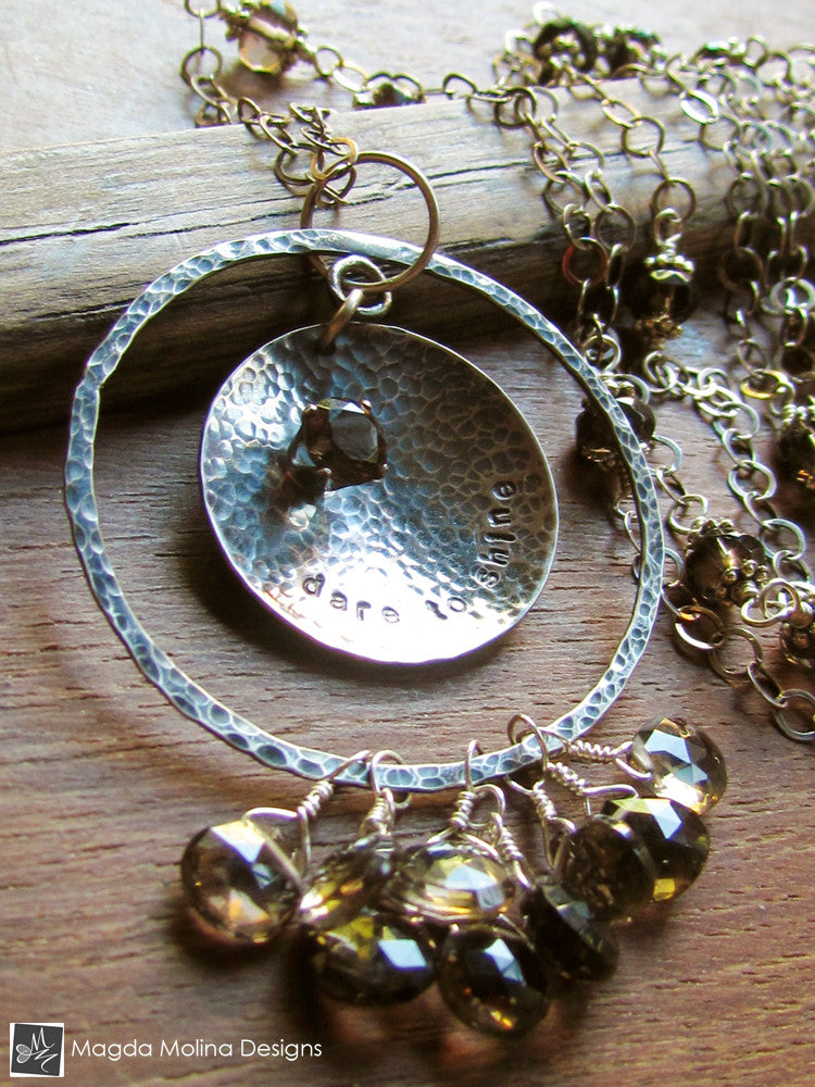 "The Long Silver ""DARE TO SHINE"" Affirmation Necklace With Smokey Quartz"
