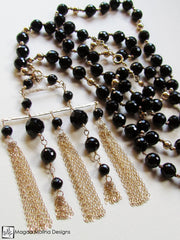 The Stunning Gold And Black Onyx Necklace With Tassel Pendant