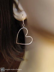 The Fun Hammered Silver Hearts Dangle Earrings