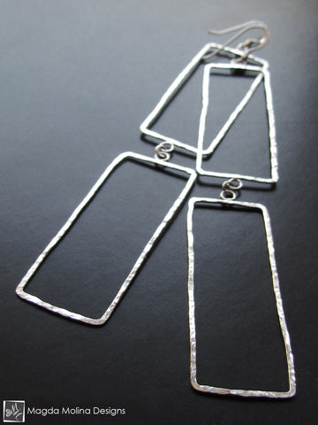 The Elegant Hammered Silver Rectangles Earrings
