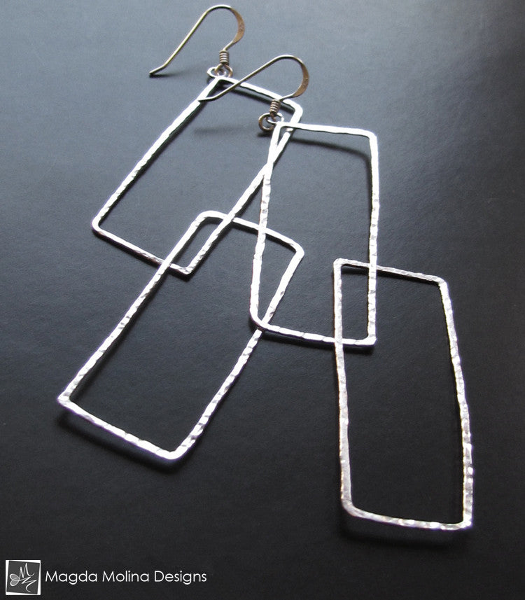 The Large Hammered Entwined Silver Rectangles Earrings