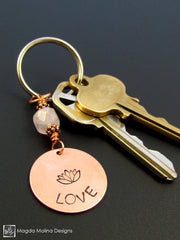 "Copper Keychain With ""LOVE"", Lotus And Rose Quartz (choose from 6 affirmations)"