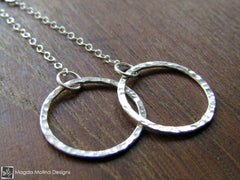 The Hammered Silver Rings On Chains Earrings