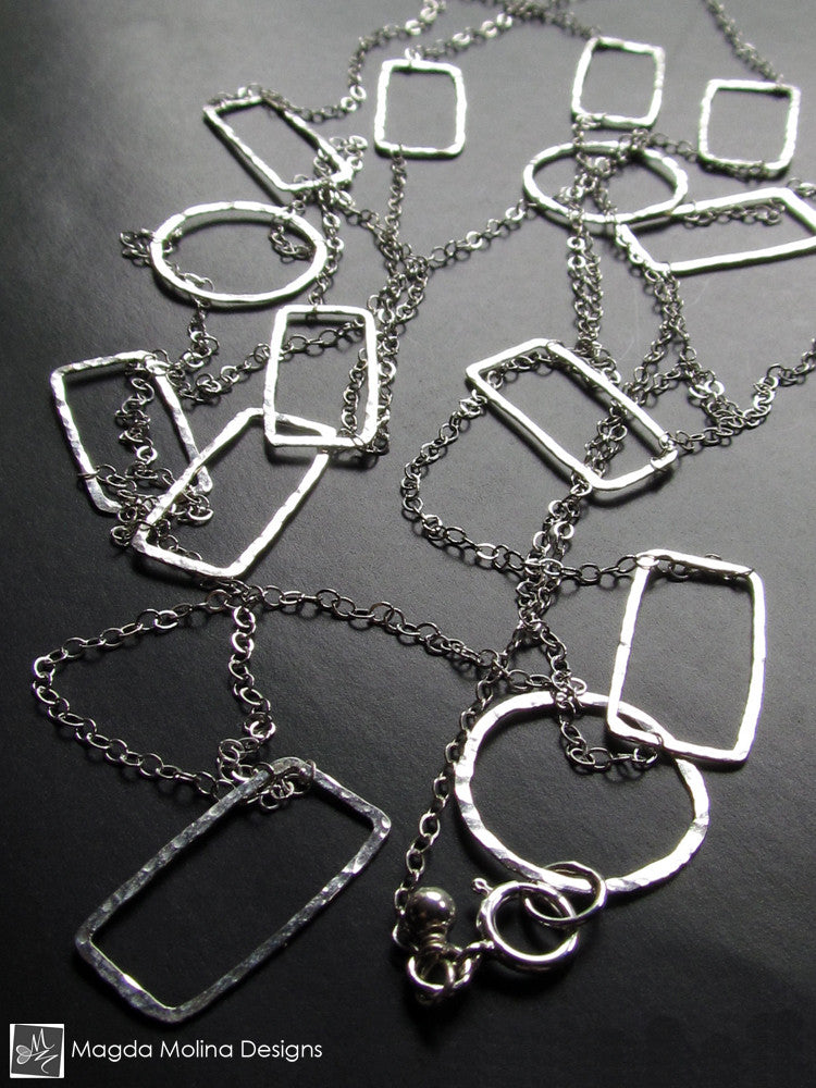 The Long And Delicate Silver Geometry Necklace