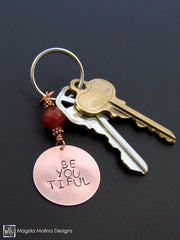 "Copper Keychain With ""BE YOU TIFUL"" Affirmation And Carnelian"