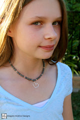 Mini Goddess (children) Dark Blue Pearls And Hammered Silver Heart Necklace