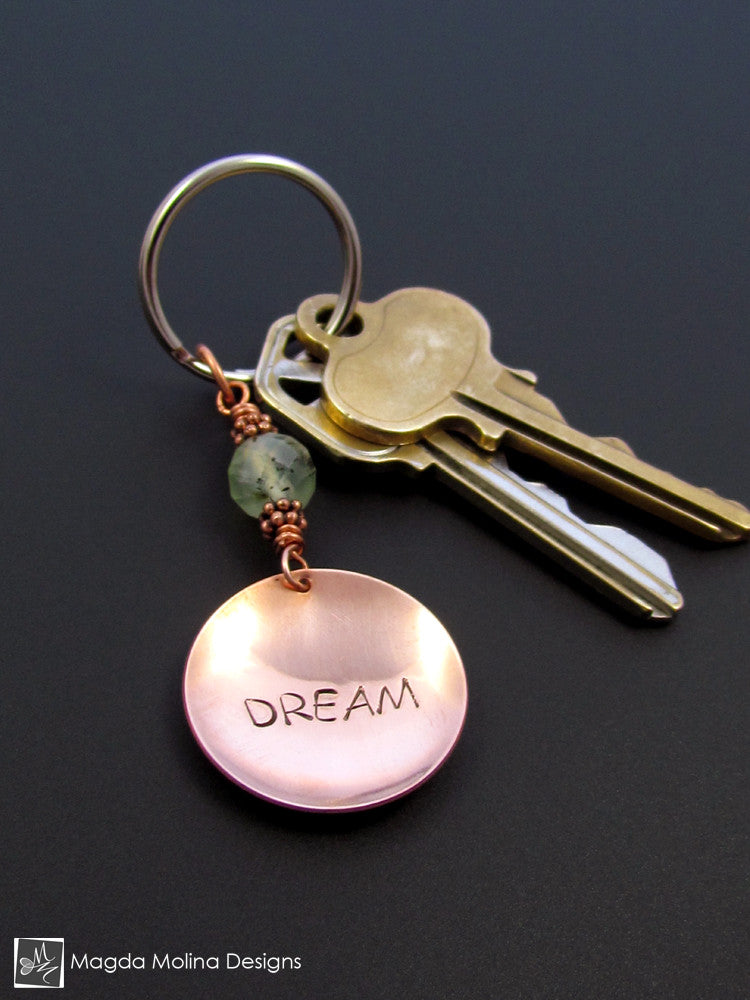 "Copper Keychain With ""DREAM"" Affirmation And Tourmalinated Quartz"