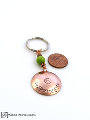 "Copper Keychain With ""HAPPINESS"" Affirmation And Green Turquoise"