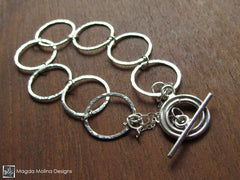 The Hammered Silver Rings Bracelet