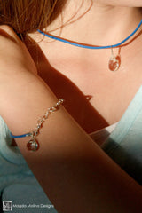 Mini Goddess (children) Pink or Blue Leather & Quartz Drop Necklace