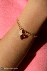 Mini Goddess (children) Chain Bracelet With Tiny Heart Charm & Pink Quartz Drop