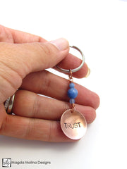 "Copper Keychain With ""TRUST"" And Blue Quartz (choose from 6 affirmations)"
