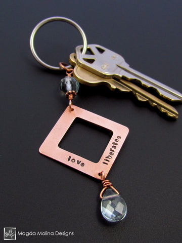 "Copper Keychain With ""LOVE LIBERATES"" Affirmation And Blue Quartz"