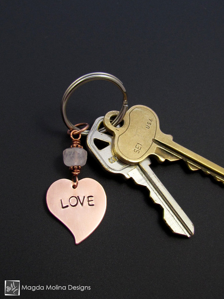 "Copper Heart Keychain With ""LOVE"" Affirmation And Rose Quartz"