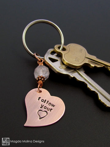 "Copper Heart Keychain With ""FOLLOW YOUR HEART"" Affirmation And Rose Quartz"