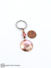"Copper Keychain With ""LOVE"" And Cherry Quartz (choose from 6 affirmations)"