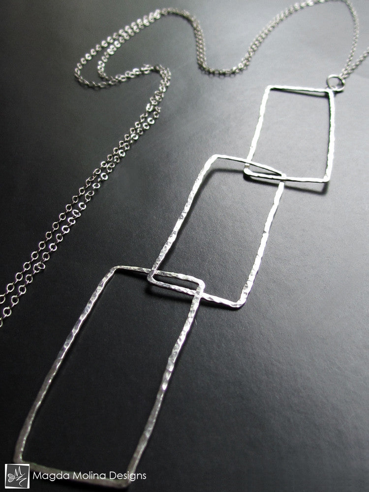 The Long Entwined Hammered Silver Rectangles Necklace