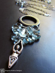The Goddess of The Sea: Silver Necklace With Shell Ring & Blue Quartz Cluster