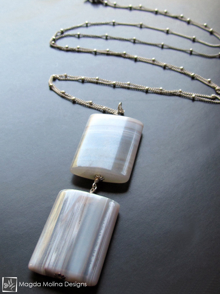 The Long Silver Chain Necklace With Square Agates
