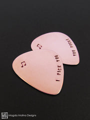 "Copper Guitar Pick Hand Stamped With ""I PICK YOU"""