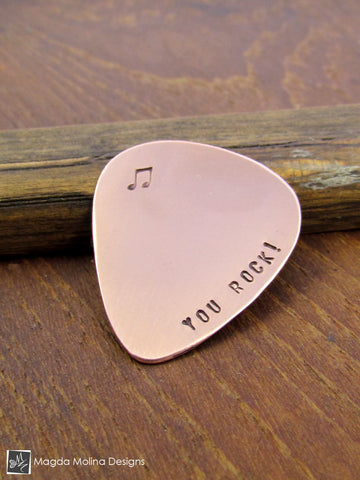 "Copper Guitar Pick Hand Stamped With ""YOU ROCK!"""