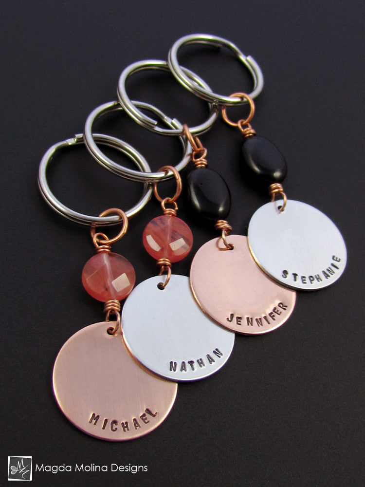 Copper / Stainless Steel Personalized Keychain With Choice of Stone