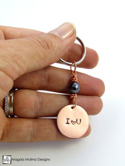 "Copper Keychain With ""I heart YOU"" Affirmation And Choice of Stone"