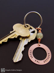 "Copper Keychain With ""ENJOY THE JOURNEY"" Affirmation And Aquamarine Stone"