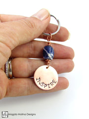 "Copper Keychain With ""INSPIRE"" Affirmation And Sodalite Stone"