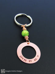 "Copper Keychain With ""LOVED BY ME"" Affirmation And Green Turquoise Stone"
